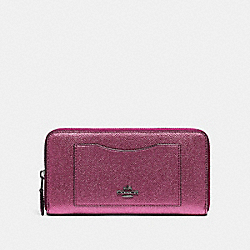 COACH F21068 Accordion Zip Wallet METALLIC MAGENTA/BLACK ANTIQUE NICKEL