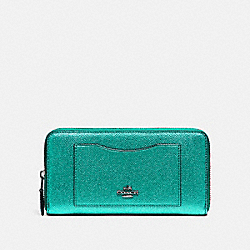 COACH F21068 Accordion Zip Wallet METALLIC SEA GREEN
