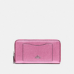 COACH F21068 Accordion Zip Wallet METALLIC BLUSH/SILVER