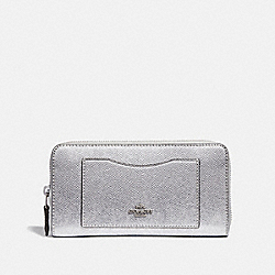 COACH F21068 Accordion Zip Wallet METALLIC SILVER/SILVER