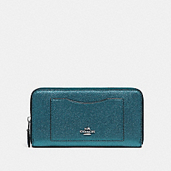 ACCORDION ZIP WALLET - F21068 - METALLIC DARK TURQUOISE/SILVER