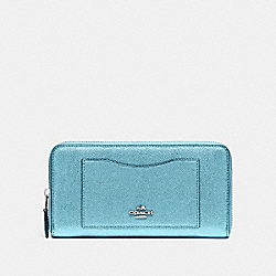 COACH F21068 Accordion Zip Wallet METALLIC SKY BLUE/SILVER