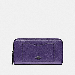 COACH F21068 Accordion Zip Wallet METALLIC PERIWINKLE/SILVER
