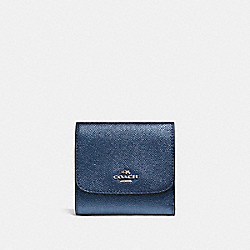 SMALL WALLET IN METALLIC CROSSGRAIN LEATHER - f21069 - SILVER/METALLIC NAVY