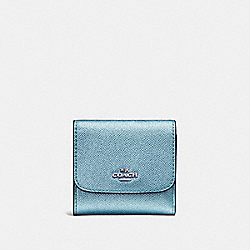 COACH F21069 - SMALL WALLET METALLIC SKY BLUE/SILVER