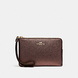 COACH F21070 Corner Zip Wristlet BRONZE/LIGHT GOLD