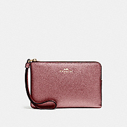 CORNER ZIP WRISTLET IN METALLIC CROSSGRAIN LEATHER - f21070 - LIGHT GOLD/METALLIC CHERRY