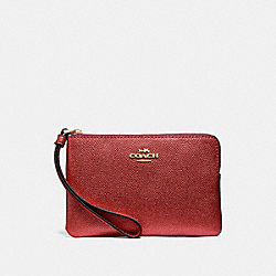 COACH F21070 Corner Zip Wristlet METALLIC CURRANT/LIGHT GOLD