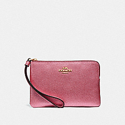COACH F21070 Corner Zip Wristlet METALLIC ANTIQUE BLUSH/LIGHT GOLD