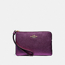 COACH F21070 Corner Zip Wristlet METALLIC RASPBERRY/LIGHT GOLD