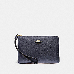 COACH F21070 Corner Zip Wristlet METALLIC DENIM/LIGHT GOLD