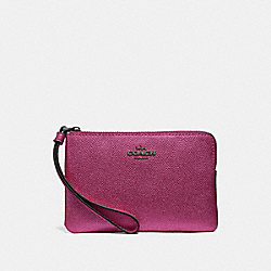 COACH F21070 - CORNER ZIP WRISTLET METALLIC MAGENTA/BLACK ANTIQUE NICKEL