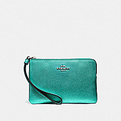 COACH F21070 Corner Zip Wristlet METALLIC SEA GREEN