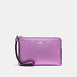 CORNER ZIP WRISTLET IN METALLIC CROSSGRAIN LEATHER - f21070 - SILVER/METALLIC LILAC