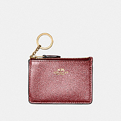 COACH F21072 Mini Skinny Id Case LIGHT GOLD/METALLIC CHERRY