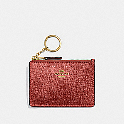 COACH F21072 - MINI SKINNY ID CASE METALLIC CURRANT/LIGHT GOLD