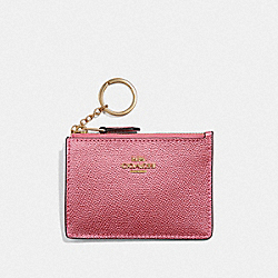 COACH F21072 - MINI SKINNY ID CASE METALLIC ANTIQUE BLUSH/LIGHT GOLD