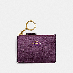COACH F21072 - MINI SKINNY ID CASE METALLIC RASPBERRY/LIGHT GOLD