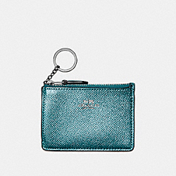 COACH F21072 Mini Skinny Id Case In Metallic Crossgrain Leather BLACK ANTIQUE NICKEL/METALLIC DARK TEAL