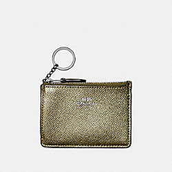 COACH F21072 Mini Skinny Id Case BLACK ANTIQUE NICKEL/METALLIC FERN