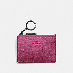COACH F21072 Mini Skinny Id Case METALLIC MAGENTA/BLACK ANTIQUE NICKEL