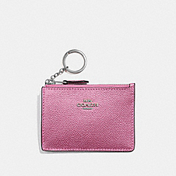 COACH F21072 Mini Skinny Id Case METALLIC BLUSH/SILVER