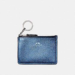 COACH F21072 Mini Skinny Id Case In Metallic Crossgrain Leather SILVER/METALLIC NAVY