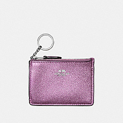 COACH F21072 Mini Skinny Id Case In Metallic Crossgrain Leather SILVER/METALLIC LILAC