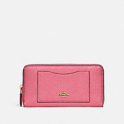 COACH F21073 - ACCORDION ZIP WALLET PEONY/LIGHT GOLD