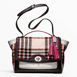 COACH F21142 Colorblock Plaid Flap Carryall