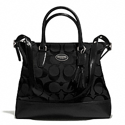 COACH F21147 - RORY SIGNATURE NORTH/SOUTH SATCHEL SILVER/BLACK/BLACK