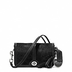 COACH F21156 - HAIRCALF POCKET PENNY SHOULDER PURSE SILVER/BLACK