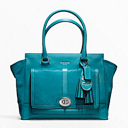 COACH F21159 Haircalf Pocket Medium Candace Carryall SILVER/AQUAMARINE