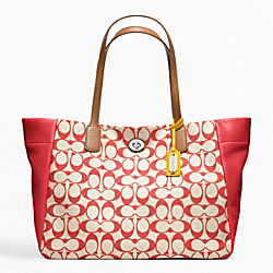 COACH F21236 Legacy Weekend Printed Signature East-west Turnlock Tote SILVER/KHAKI/VIOLET