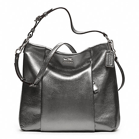 Coach F21245 Madison Metallic Leather Isabelle Shoulder Bag Silver Gunmetal