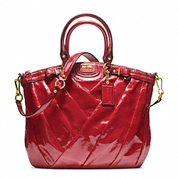 MADISON DIAGONAL PATENT LINDSEY NORTH/SOUTH SATCHEL - f21299 - BRASS/RUBY