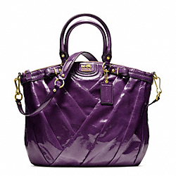 COACH F21299 - MADISON DIAGONAL PATENT LINDSEY NORTH/SOUTH SATCHEL BRASS/VIOLET