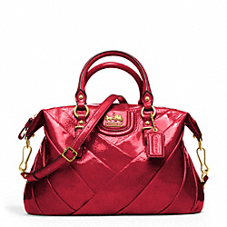COACH F21304 Madison Diagonal Pleated Patent Juliette Satchel BRASS/RUBY