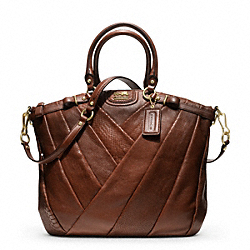 COACH F21318 - MADISON DIAGONAL PLEATED MIXED EXOTIC LINDSEY SATCHEL BRASS/TOBACCO