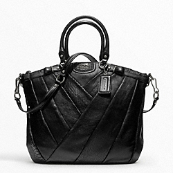 COACH F21318 - MADISON DIAGONAL PLEATED MIXED EXOTIC LINDSEY SATCHEL ANTIQUE NICKEL/BLACK