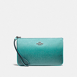 COACH F21328 Large Wristlet SILVER/SEA GREEN
