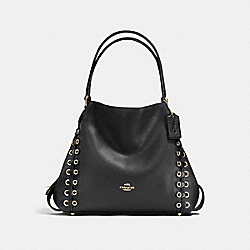COACH F21348 - EDIE SHOULDER BAG 31 WITH COACH LINK DETAIL BLACK/LIGHT GOLD