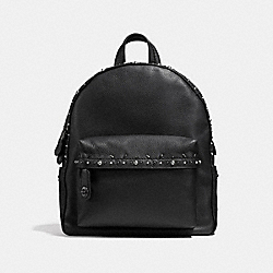 COACH F21354 Campus Backpack With Prairie Rivets BLACK/BLACK COPPER
