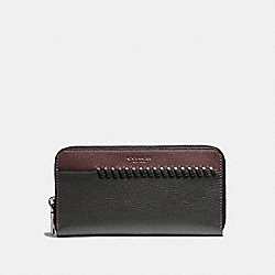 ACCORDION WALLET WITH BASEBALL STITCH - f21369 - OXBLOOD/BLACK