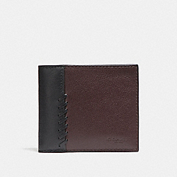 3-IN-1 WALLET WITH BASEBALL STITCH - f21371 - OXBLOOD/BLACK