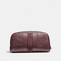 TRAVEL KIT WITH VARSITY STRIPE - f21387 - OXBLOOD