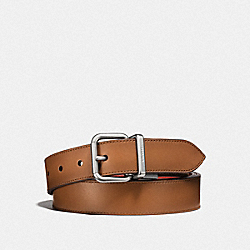 HARNESS BUCKLE CUT-TO-SIZE REVERSIBLE BELT, 32MM - F21488 - LIGHT SADDLE/VERMILLION