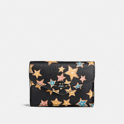 COACH F21555 Envelope Card Case With Starlight Print MATTE BLACK/BLACK MULTI