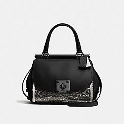 COACH F21584 - DRIFTER TOP HANDLE IN SNAKESKIN CHALK/BLACK/DARK GUNMETAL