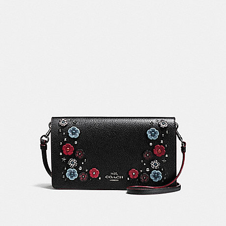 COACH f21599 FOLDOVER CROSSBODY CLUTCH WITH SNAKESKIN TEA ROSE DARK GUNMETAL/BLACK CLOUD MULTI